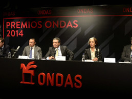 Barcelona, España, 2014. Radio Barcelona. Dictamen Premios ONDAS. Juan Pablo Álvarez, Andrés Cardó, Augusto Delkáder, Sandra Rotondo, Josep María Martí