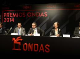 Barcelona, Espanha, 2014. Rádio Barcelona. Decisão Prêmios ONDAS. Juan Pablo Álvarez, Andrés Cardó, Augusto Delkáder, Sandra Rotondo, Josep María Martí
