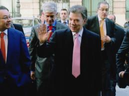 Madrid, España. Casino de Madrid. Evento EL PAÍS. Andrés Cardó, Juan Manuel Santos, Juan Luis Cebrián, Javier Moreno, Fernando Carrillo
